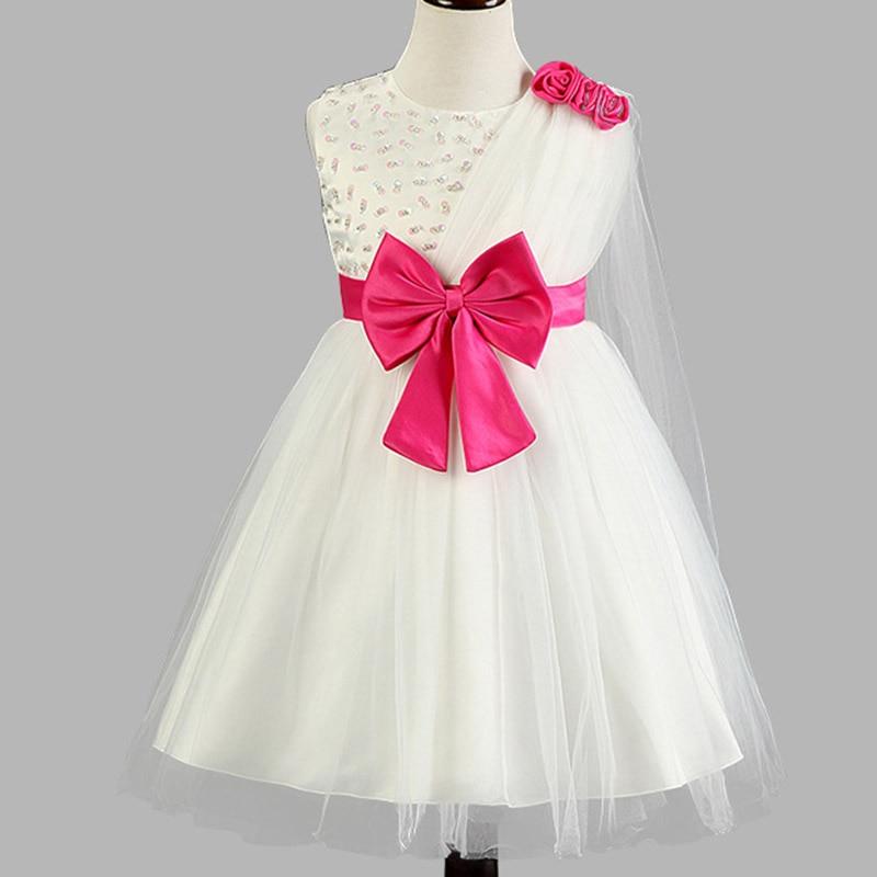 MIQI Princess Dress for Girl Rose Shawl Bow Decoration Birthday Wedding Party Dress Solid Kids Dresses for Girls 3 4 5 6 7T marfoli girl princess dress birthday