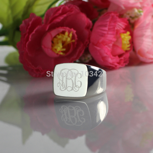 Customized Sterling Silver Monogram Rings Personalized Cut 3 Monogrammed Initials In Square Name Ring