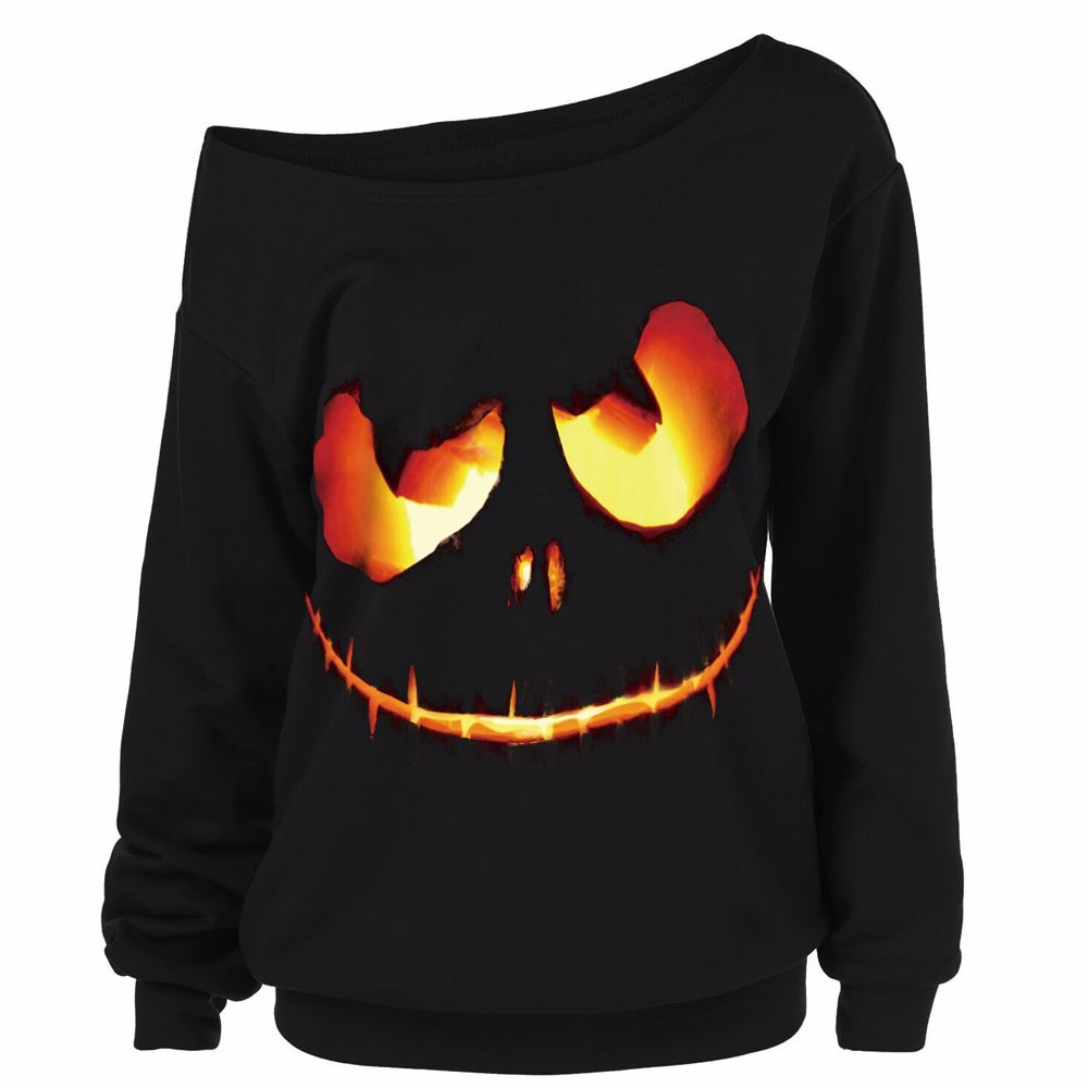 women halloween pumpkin devil sweatshirt pullover tops blouse shirt plus size women clothing blusas femininas camisetas - Halloween Shirts For Ladies