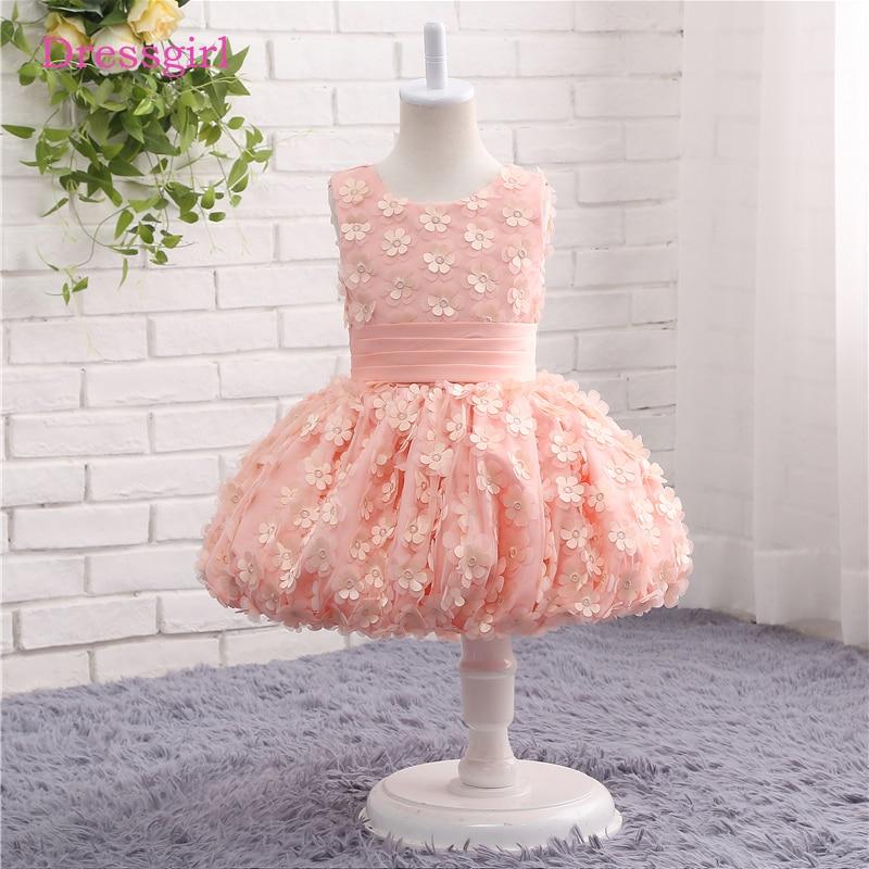 Pink 2019   Flower     Girl     Dresses   For Weddings Ball Gown Tulle First Communion   Dresses   For Little   Girls