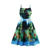 Sisjuly New Vintage Dress 1950s 60s Summer Knee Length Women Green Strapless Print Spaghetti Strap Elegant