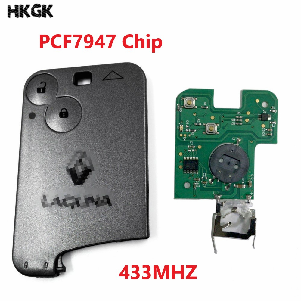 2 Buttons Remote Car Key for Renault Laguna Espace Vel-Satis PCF7947 Chip 433Mhz Smart Card Remote with logo