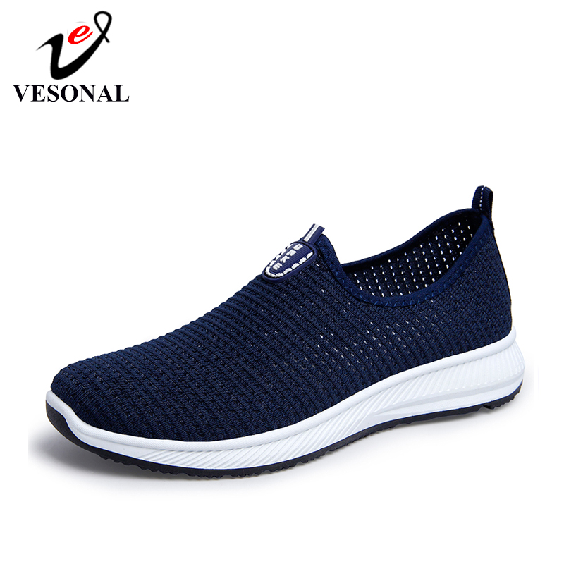 VESONAL 2019 Summer Breathable Mesh Sneakers Men Shoes Comfortable Slip On Male Shoes Loafers Casual Walking Footwear AA02(China)