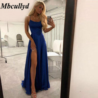 Mbcullyd Mermaid Bridesmaid Dresses 2019 Sexy High Side Split Long Women Wedding Party Dress 2019 Royal Blue Robe De Soiree