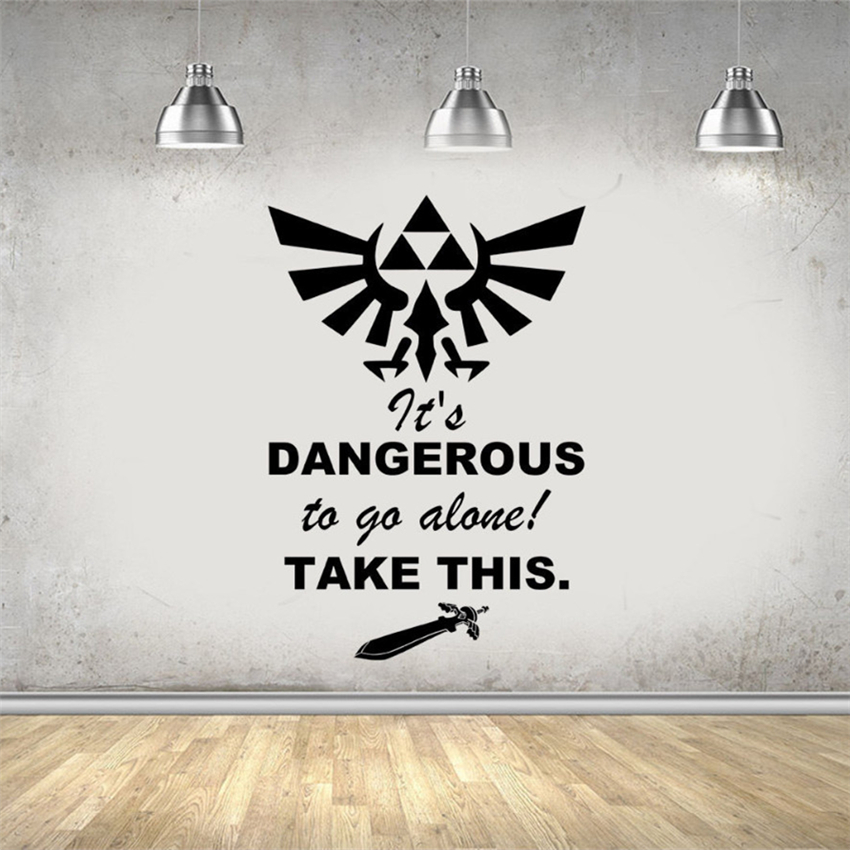 Legend Of Zelda Gaming Quote Vinyl Wall Stickers For Kids Room Boy Bedroom Home Decor Removable Vinyl Wall Decals #M750