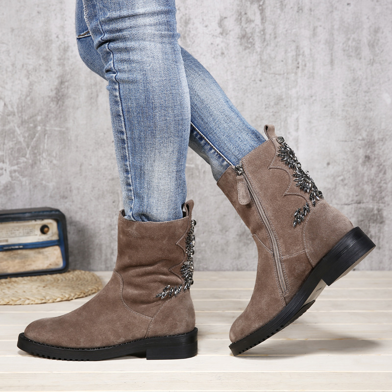 VALLU 2018 Winter Shoes Women Snow Boots Natural Suede Crystal Decoration Lady Warm Ankle Boots Three