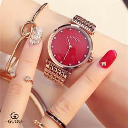 Часы для Для женщин 2018 Топ люксовый бренд со стразами часы Полный Сталь розовое золото Циферблат Кварцевые наручные часы Горячие zegarek damski