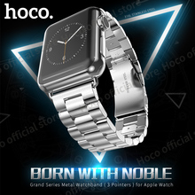Original hoco grand serie correa de metal 3 punteros para apple watch iwatch 38mm 42mm de acero inoxidable mate