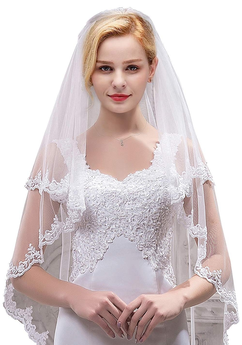 Women's Short 2 Tier Tulle Sheer Lace Wedding Bridal Veil With Comb Velos De Novia 2019  Vail  Ivory Veil Two Layer