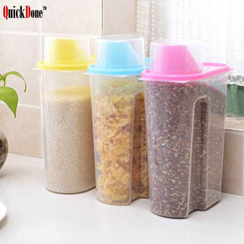 Quickdone Plastic Kitchen Grains Storage Tank Jar With Cover Large Pot Cereal Container Kitchen Storage Bottles Akc5138