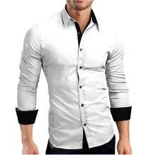 8a1f36e19f Hombres camisa de marca 2018 hombre de alta calidad camisetas de manga  larga Casual golpe de Color Slim Fit negro hombre vestido.