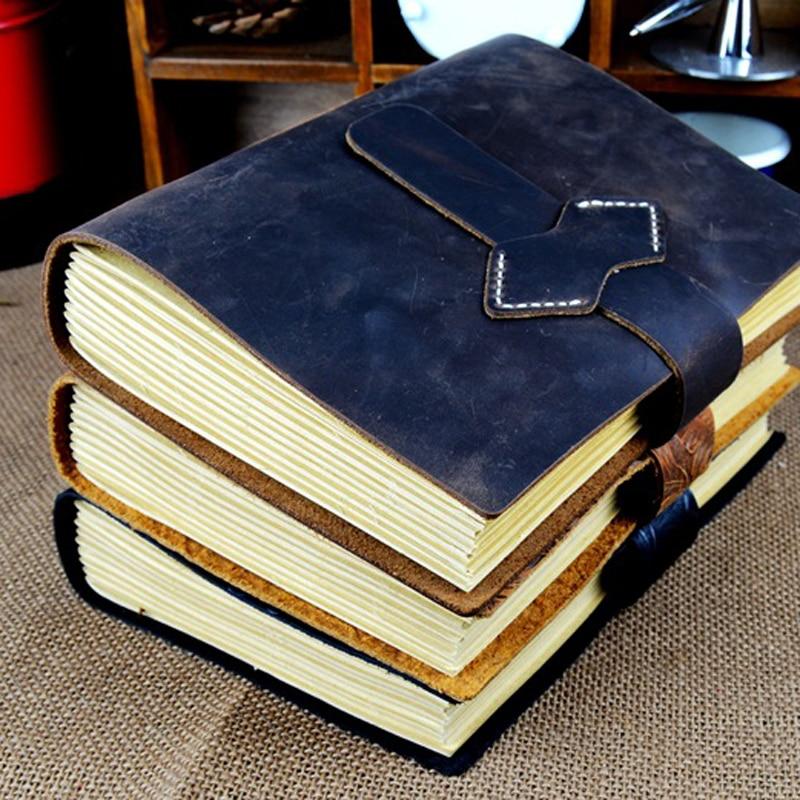 Rétro Fait Main En Cuir Carnet de notes carnet de Croquis Carnet De Voyage Vintage Blanc Papier Cahiers de Papeterie De Bureau De Cadeaux