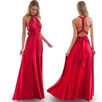 2017 Sexy Bohemian Maxi Club Dress Red Bandage Long Women Dress Party Multiway Bridesmaids Convertible Robe