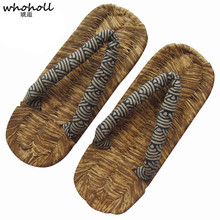 WHOHOLL Ordinary Geta Man Slippers Japanese Straw Samurai Shoes Men Flip-flops Hand-woven Cosplay Costumes Anime Beach