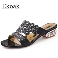Ekoak New 2017 Fashion Summer Shoes Woman Rhinestone Cut outs sandals Ladies Medium Heels Sandals Party