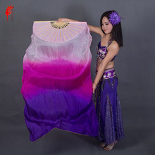 Silk Fan Veils Belly-Dance-180cm Dancer-Performance Colors Dyed A-Pair Natural 100%Pure