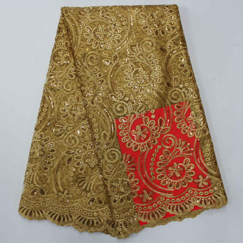 High Quality African French Lace Fabrics Gold Net Embroidery Sequins Tulle Lace Fabric For Nigerian Wedding Party Dress