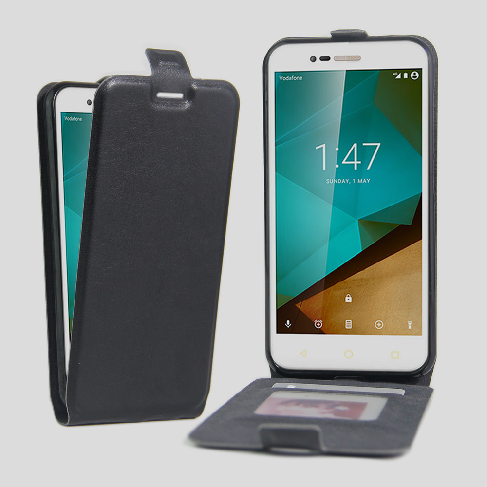 new arrival 2642b c8b87 US $4.74 5% OFF|VF600 Case Leather Flip Up Down Style for Vodafone Smart  first 7 Cover Credit Card Slot Cases black Covers Vodafone600 VF 600-in ...