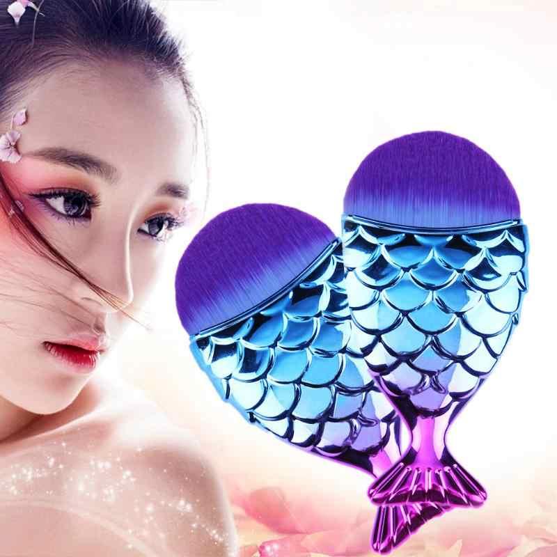 1 pc Gradiënt Vis-Staart Vorm Make-Up Borstel Foundation Powder Cosmetische Brush Tool met Cover Cap Protector