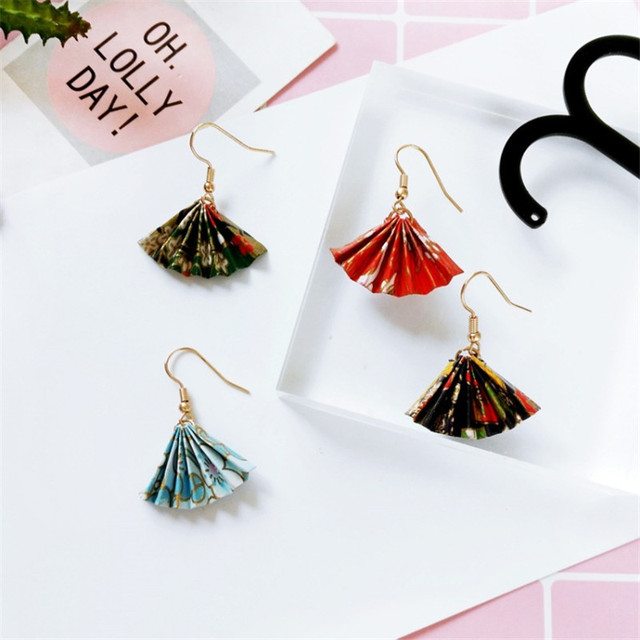 Retro Hand Made Folding Paper Fan Earrings An And South Korea Wind Female Fashion