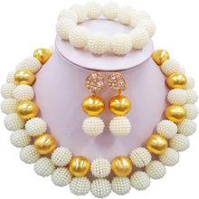 ФОТО nigerian beads white african jewelry set laanc al070