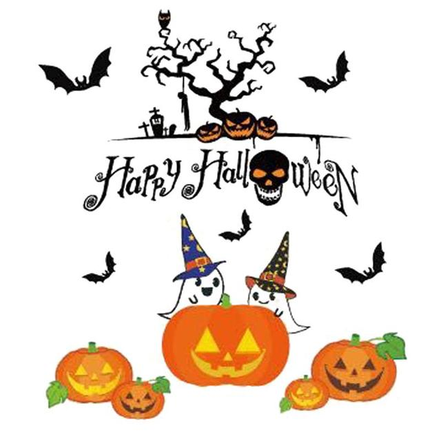 happy halloween pumpkins spooky cemetery witch and bats tomb wall decals window stickers halloween decorations - Happy Halloween Stickers