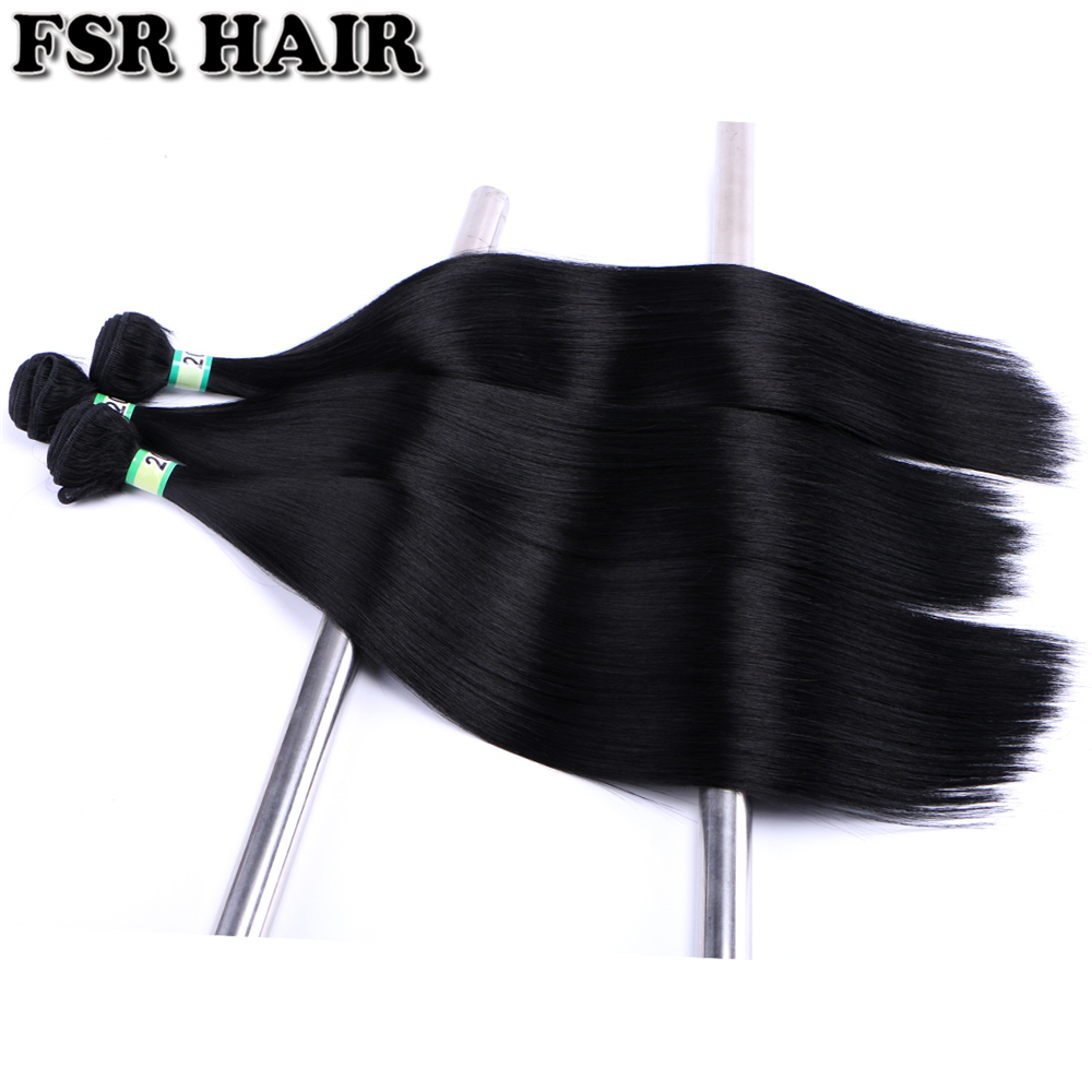 FSR 16-26 Inch 100 Gram One Piece Straight Hair Bundle Soft Yaki Straight Hair Extensions Heat Resistant Synthetic Weaves