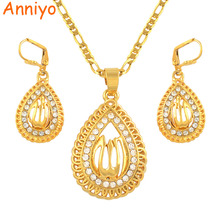 Anniyo Allah Jewelry sets Islam Necklace Pendant Earrings Gold Color Muslim Arab Women Muhammad Middle East Gift #051006