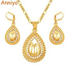 Комплект ювелирных изделий Anniyo Allah, ожерелье, серьги с подвеской золотого цвета для мусульманских арабских женщин, подарок на Ближний Восток #051006