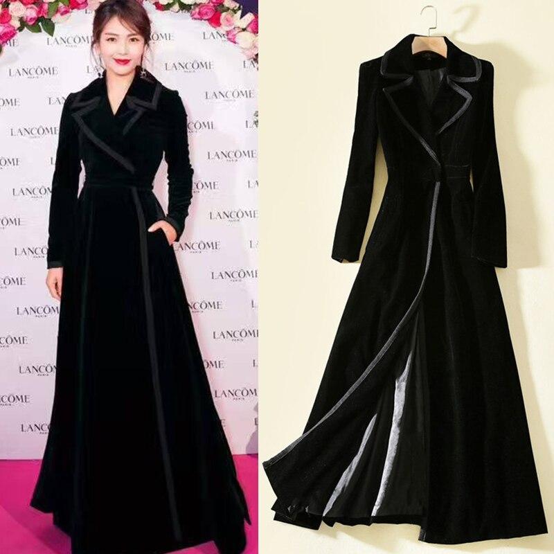 Winter Designer Elegant Women High Quality Solid Color Black Red Velvet Long Coat Plus Size Casual