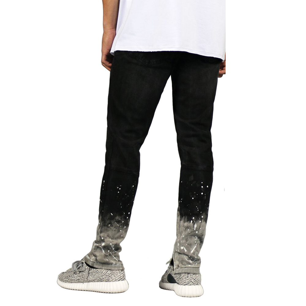 2018 New Mens Skinny Stretch Paint Leg Side Ankle Zipper Pencil Jeans H0280