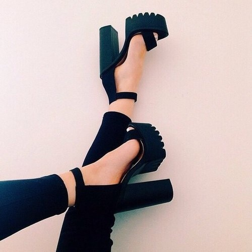 Luxurious Ankle Strap Chunky Heel Buckle Strap Black Suede Sandals High Platform shoes woman Female Thick Heel Platform High Hee chic black suede chunky heel platform
