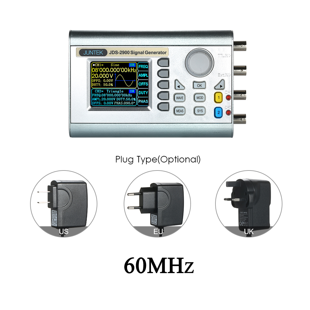 Digital Dual channel DDS Signal Generator Counter Arbitrary Waveform Pulse Signal Generator Frequency Meter JDS2900 60MHz mhs 5212p power high precision digital dual channel dds signal generator arbitrary waveform generator 6mhz amplifier 80khz