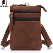 цены MISFITS Genuine Leather Men Messenger Bags Casual Shoulder Crossbody Bag Travel Male Small Waist Packs Belt Cell Phone Hip Bag