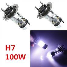 2 Pcs H7 100 W LED 20-SMD Proiettore Nebbia Della Coda di Guida Del Faro Dell'automobile Della Lampada Della Lampadina