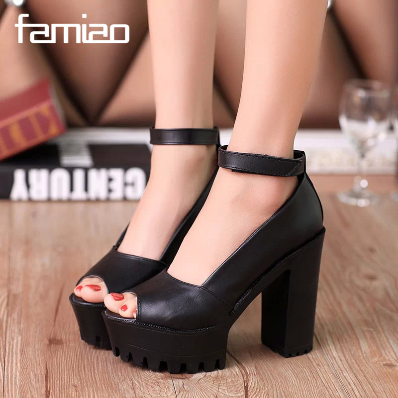 2016 New style high heels women sandals open toe sandals female thick heel platform summer shoes big size 9  2017 summer new women sandals slipper shoes fashion rhinestone thick high heel female slides snadals black plus size shoes xp35