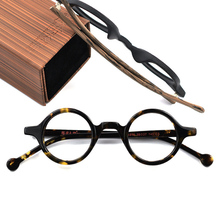 Hand Made Vintage Small Round Eyeglasses Men Women Compute Optical Glasses Frames Acetate wooden Brand Top Quality With Box A916