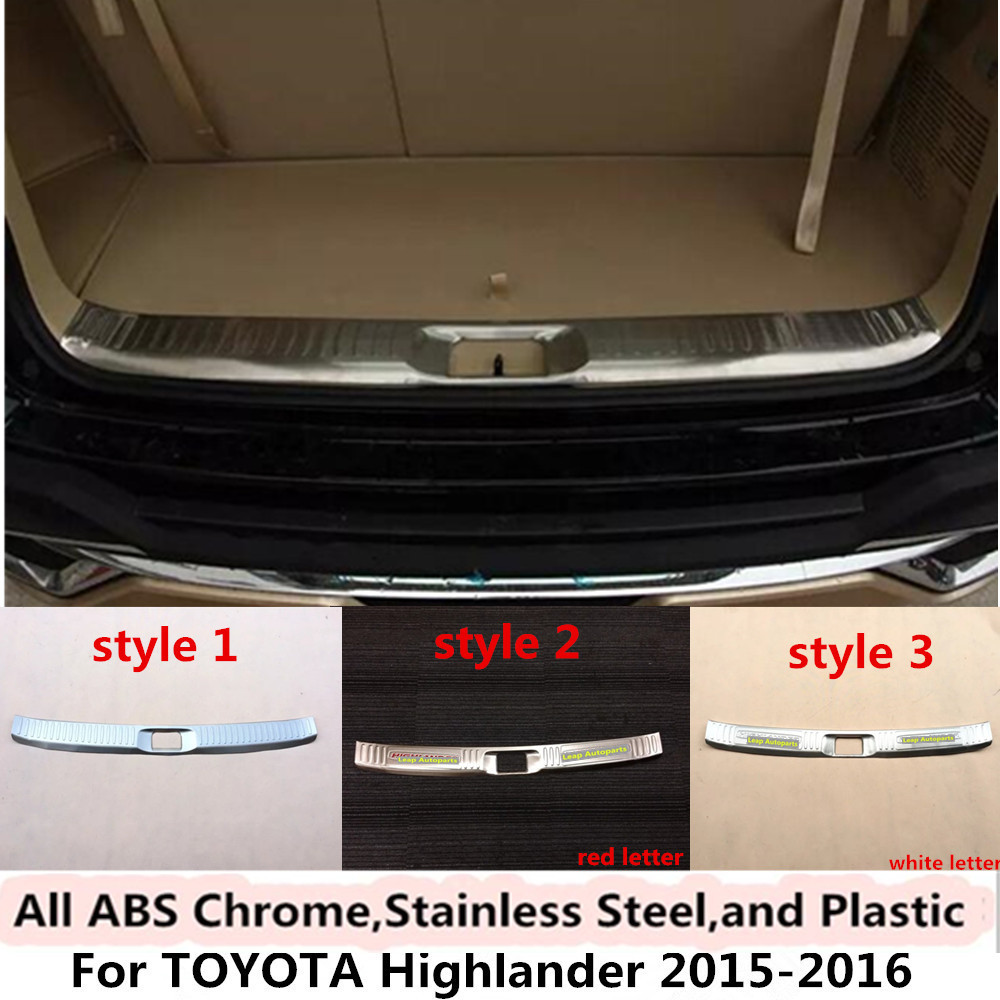 For toyota highlander 2015 2016 car styling cover stainless steel inner built rear bumper protector trim