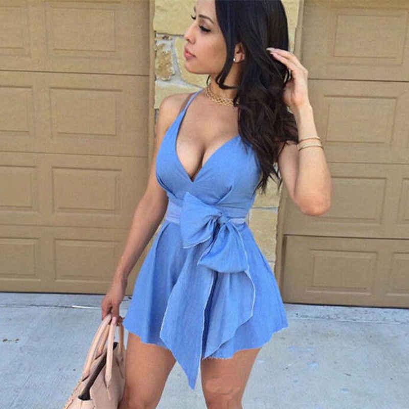 Hot femmes courte Mini robe arc solide à bretelles col en V Sexy Demin bleu Bandage moulante sans manches dame décontracté Cocktail Party Club