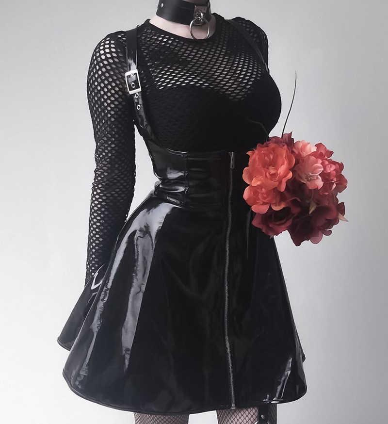afb11067f Gótico oscuro de cuero Vintage Falda plisada con cremallera Slim gótico  falda dama de moda de cintura alta negro corto Falda Mujer verano