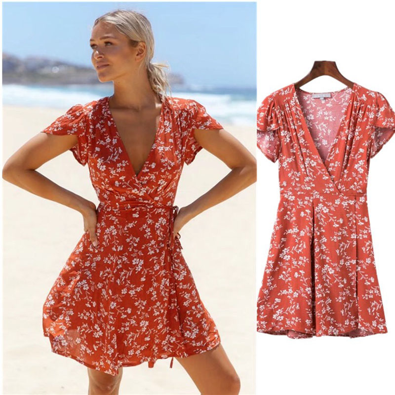 2019 Printed A Line Mini Summer Dresses Women Sexy Bodycon Summer Bohemian V Neck Lace Up