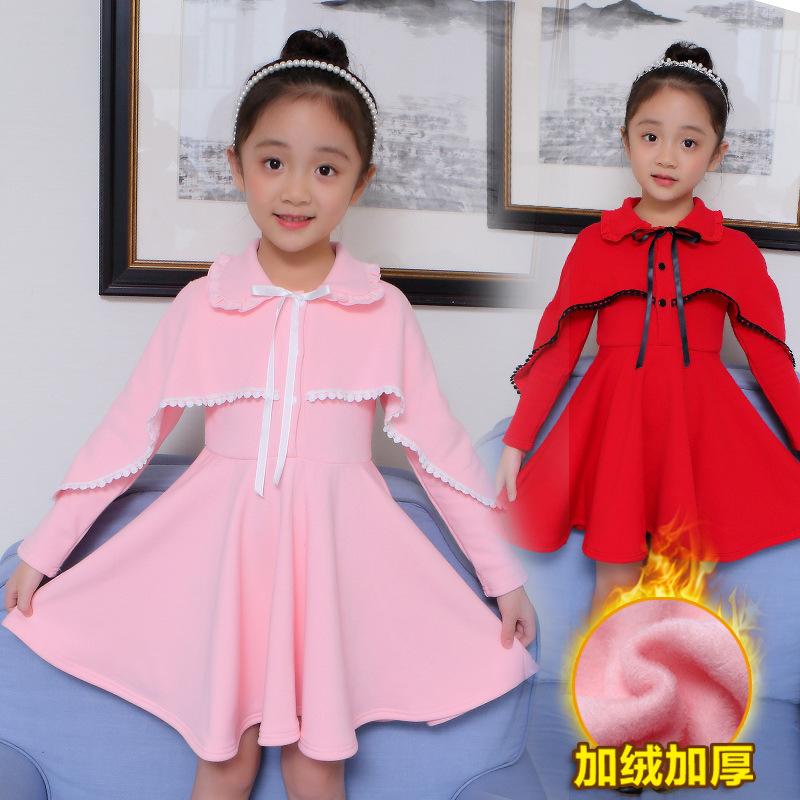 Kids Girls Winter Dresses Party Clothes Size 4 6 8 10 12 Years Ruffles Long Sleeve Red Wool Dress Girls Christmas Costume 50S1A 2018 casual boho short sleeve maxi dress square neck floral printed ruffles dress loose flare sleeve a line ruffles dresses