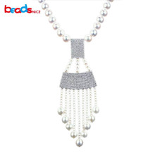 Beadsnice long pearl necklace with 925 sterling silver pendant micro pave wholesale freshwater pearl jewelry necklaces ID30597