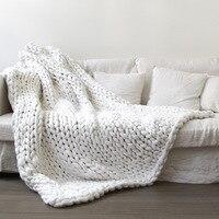 ホームテキスタイルソフト太線ジャイアント糸ニット毛布手織小道具毛布かぎ針編みllinen柔らかい毛布ベッ