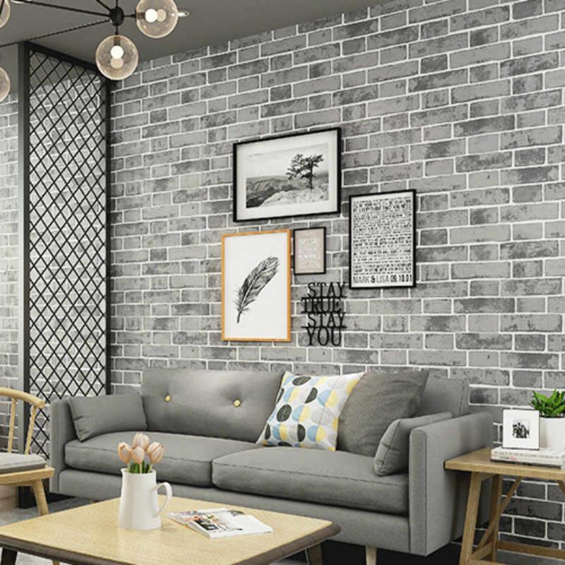 Grey Modern Vintage Textured Brick Wall Paper Wallpaper Roll