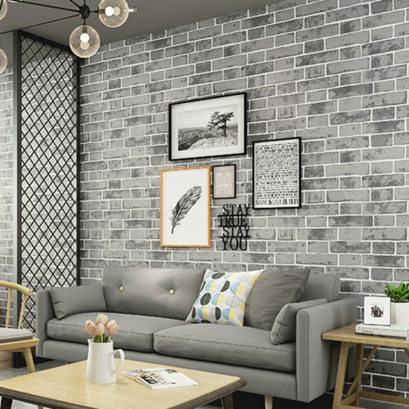 Grey Modern Vintage Textured Brick Wall Paper Wallpaper Roll Bedroom Living Room Home Decoration, Orange,White,Blue