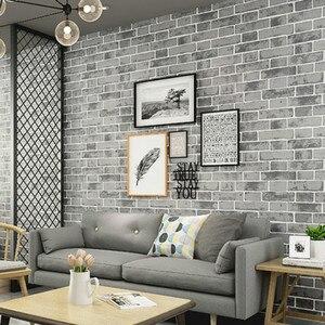 Image 1 - Grey Modern Vintage Textured Brick Wall Paper Wallpaper Roll Bedroom Living Room Home Decoration, Orange,White,Blue