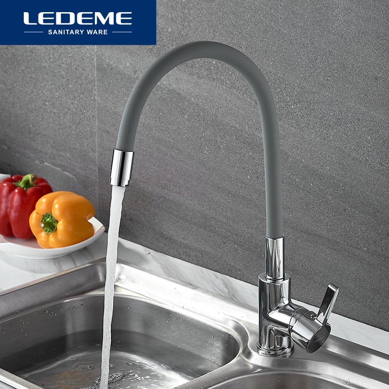 LEDEME Chrome Finish Kitchen Sink Faucet Single Handle Polished Taps Brass Mounted Mixer Water Taps Basin Faucets L4898-9