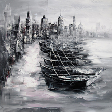 Black and white oil painting by palette knife paintings for wall decoration