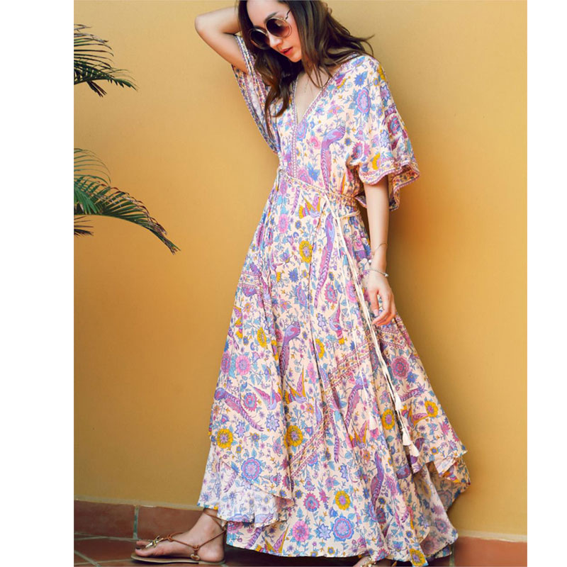 ade06039b5e1 Aliexpress.com : Buy 2017 Kimono Sleeves Long Dress Lovebird Half Moon Gown  Maxi Dresses Women Sexy V Neck Floral Print Holiday Beach Vestidos from  Reliable ...